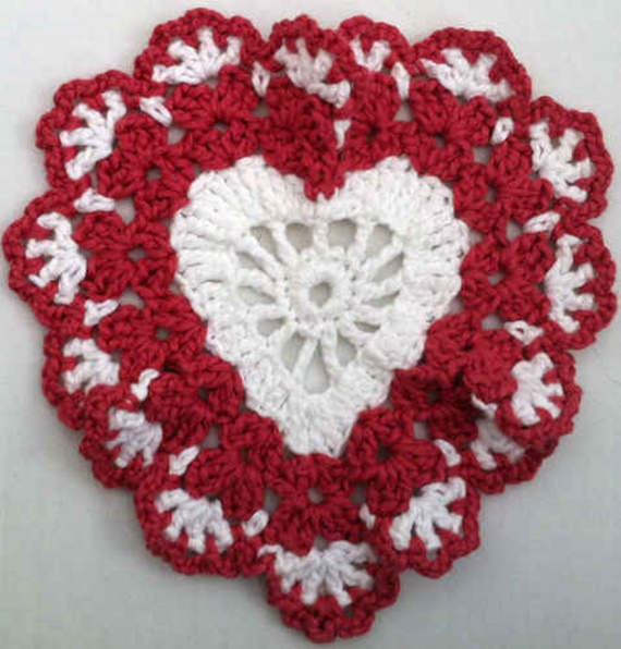 Crochet Sweetheart Dishcloth Free Pattern - Crochet Heart Applique Free Patterns