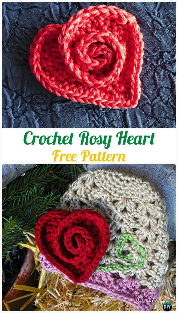 Crochet Heart Applique Free Patterns