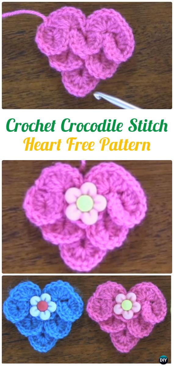 Crochet Crocodile Stitch Heart Free Pattern - Crochet Heart Applique Free Patterns