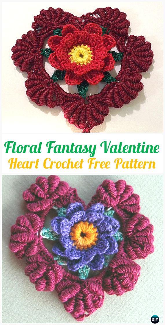 CrochetFloral Fantasy Valentine Heart FreePattern- Crochet Heart Applique Free Patterns