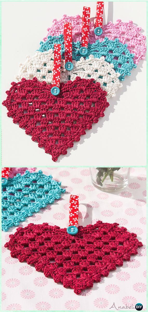 CrochetGranny Heart FreePattern- Crochet Heart Applique Free Patterns
