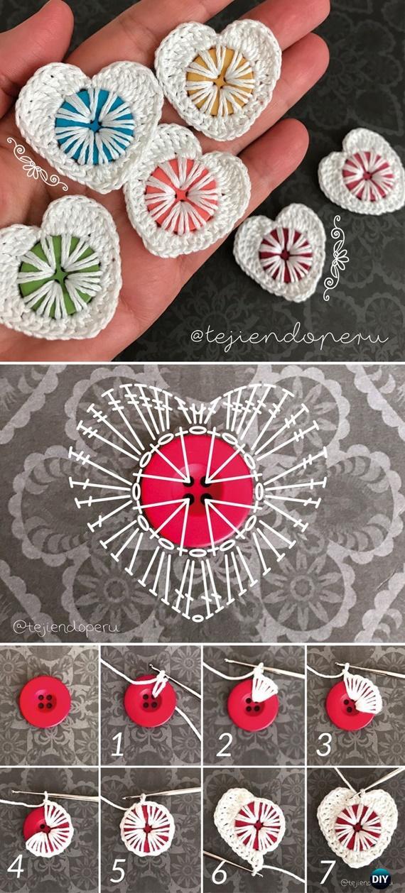 CrochetButton Heart FreePattern- Crochet Heart Applique Free Patterns