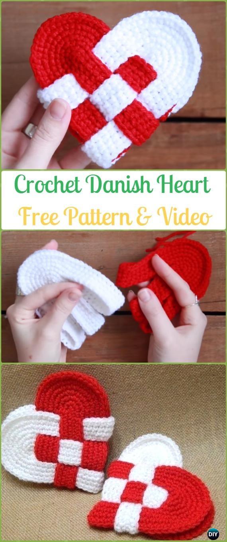 Crochet Interweave Danish Heart FreePattern&Video-Crochet Heart Applique Free Patterns