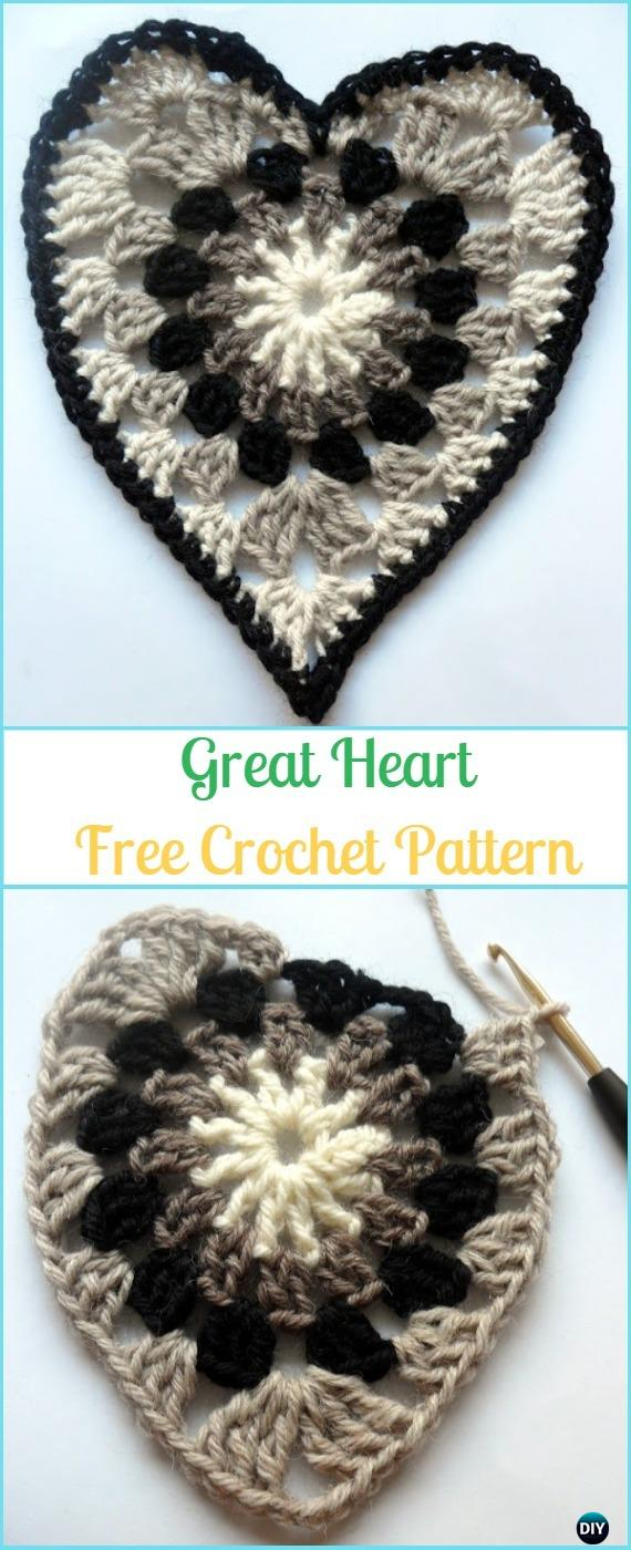 Crochet Great Heart Free Pattern - Crochet Heart Applique Free Patterns
