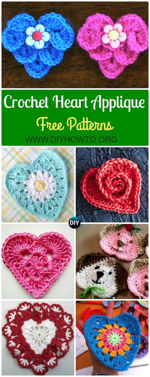 Crochet Heart Applique Free Patterns Collection: Crocodile Stitch Heart, Granny Heart, Daisy Flower Heart, Rosy Heart, Lace heart, and more