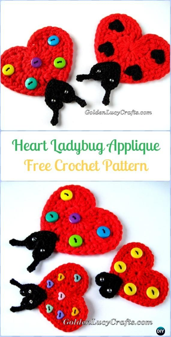 Crochet Heart Ladybug Applique Free Pattern - Crochet Heart Shaped Applique Free Patterns By Golden Lucy Crafts