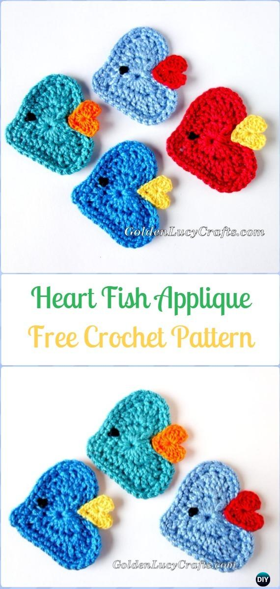 Crochet Heart Fish Applique Free Pattern - Crochet Heart Shaped ...