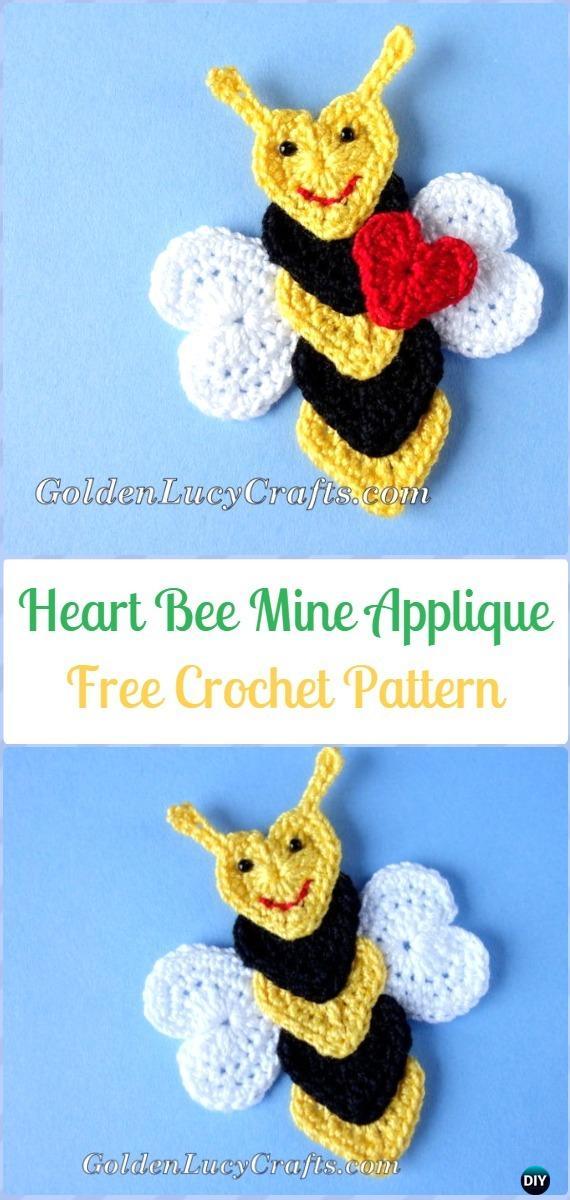Crochet Heart Bee Applique Free Pattern - Crochet Heart Shaped Applique Free Patterns By Golden Lucy Crafts