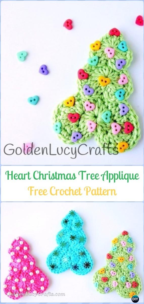 Crochet Heart Christmas Tree Applique Free Pattern - Crochet Heart Shaped Applique Free Patterns By Golden Lucy Crafts