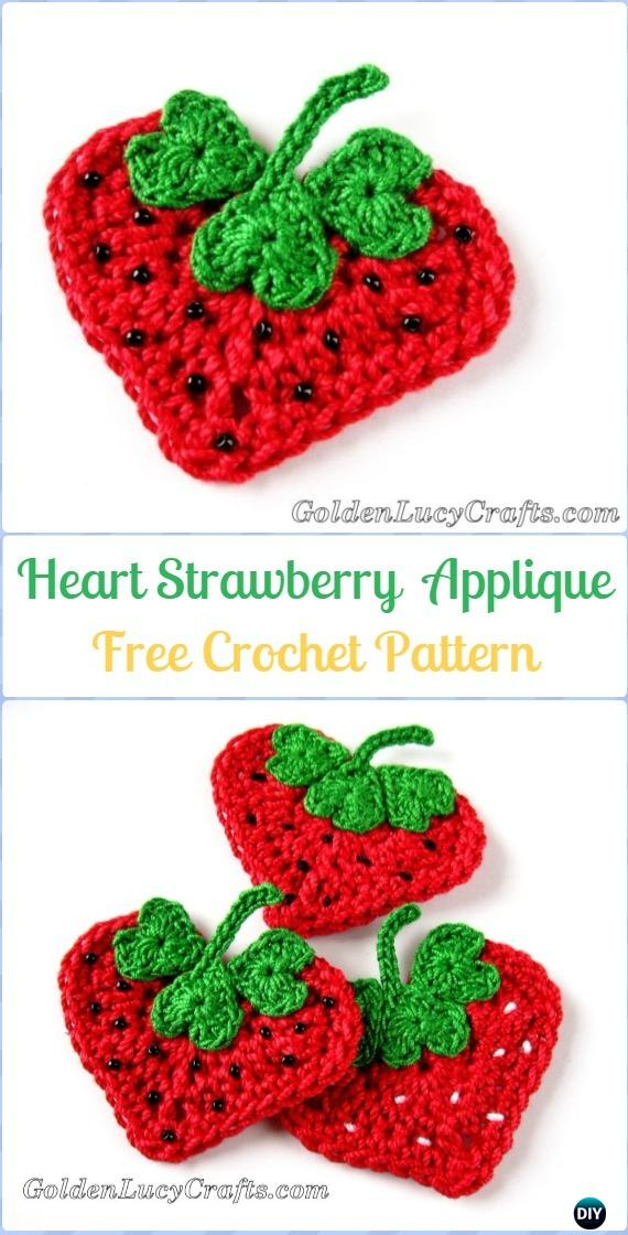 Crochet Heart Strawberry Applique Free Pattern - Crochet Heart Shaped Applique Free Patterns By Golden Lucy Crafts