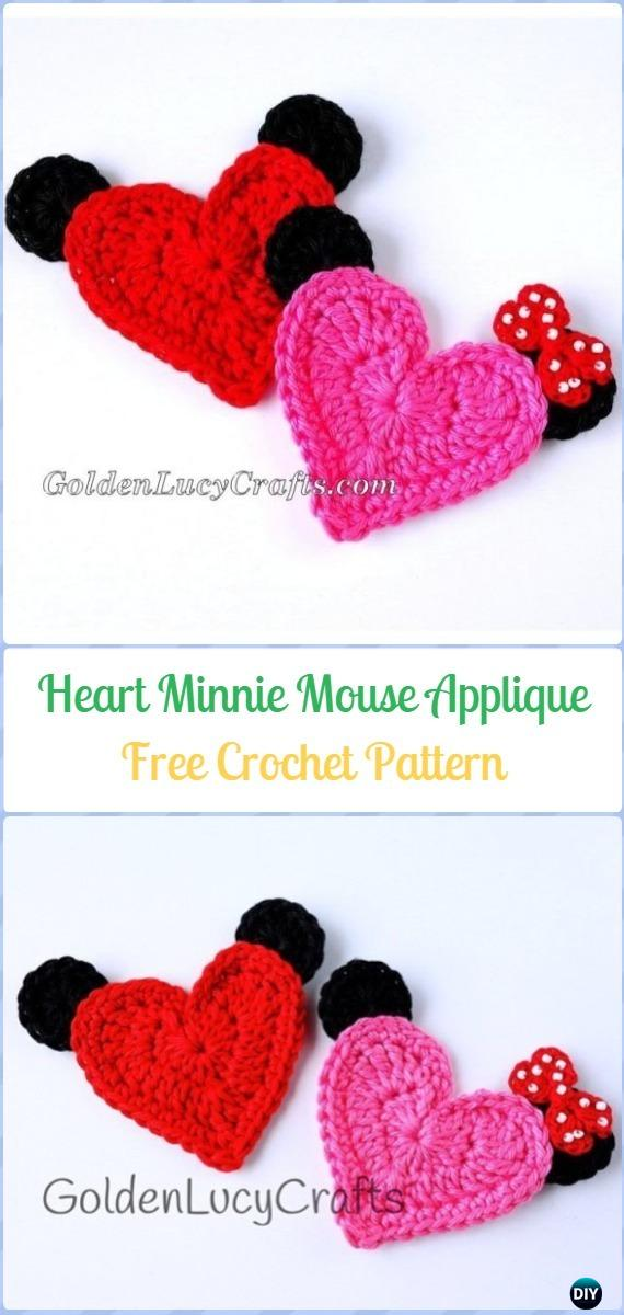 Crochet Heart Minniemickey Mouse Applique Free Pattern Crochet