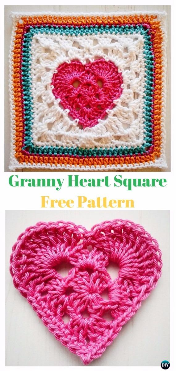 Crochet Granny Heart Square Free Pattern - Crochet Heart Square Free Patterns