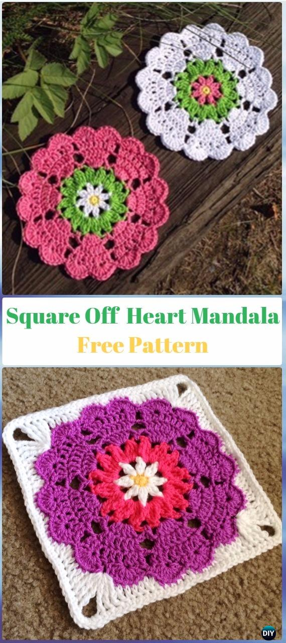 Crochet Square Off Heart Mandala Free Pattern - Crochet Heart Square Free Patterns