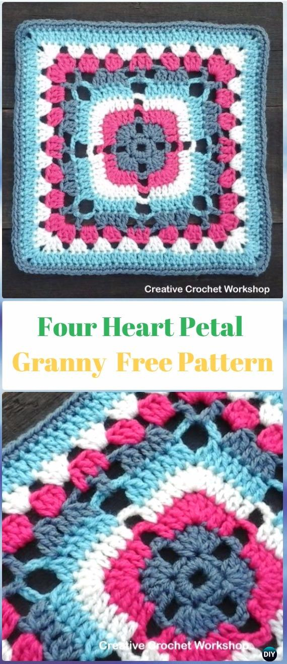 Crochet Four Heart Petal Granny Square Free Pattern - Crochet Heart Square Free Patterns