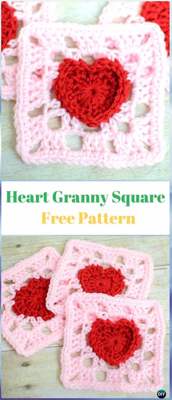 Crochet Heart Granny Square Free Pattern - Crochet Heart Square Free Patterns