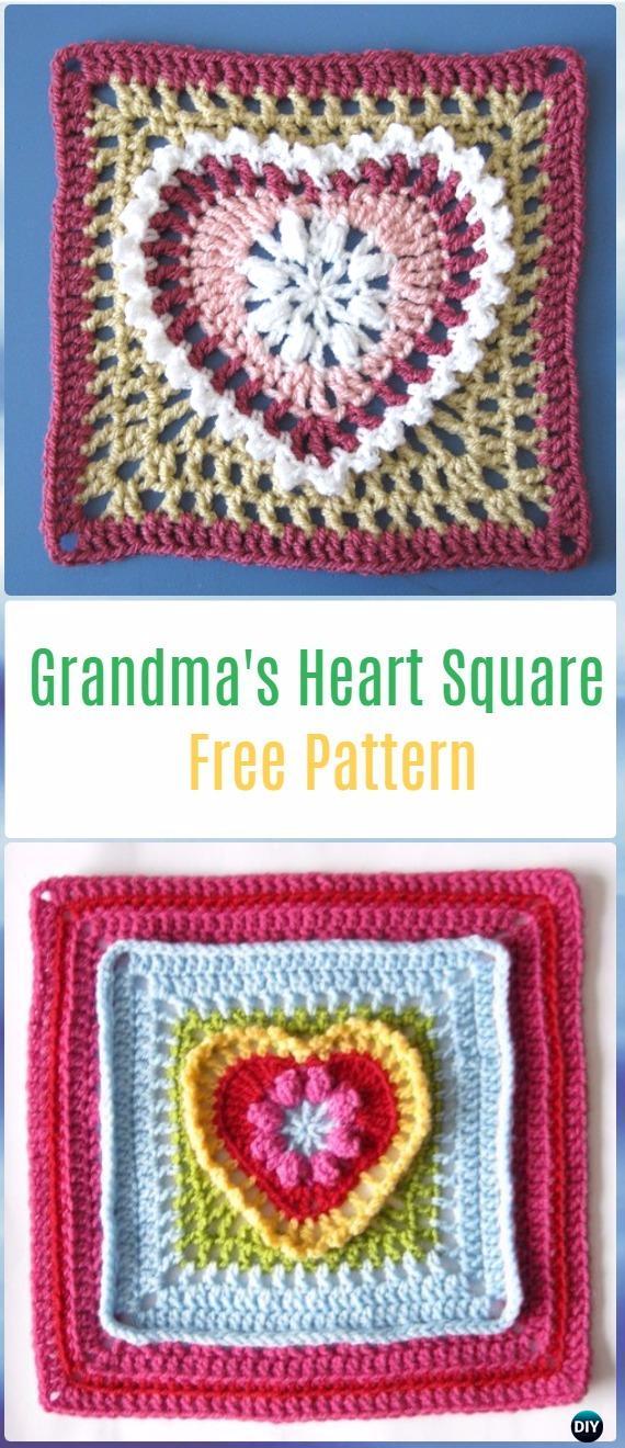 Crochet Grandma's Heart Square Free Pattern - Crochet Heart Square Free Patterns