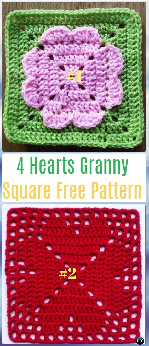 Crochet 4 Hearts Square Granny Free Patterns - Crochet Heart Square Free Patterns