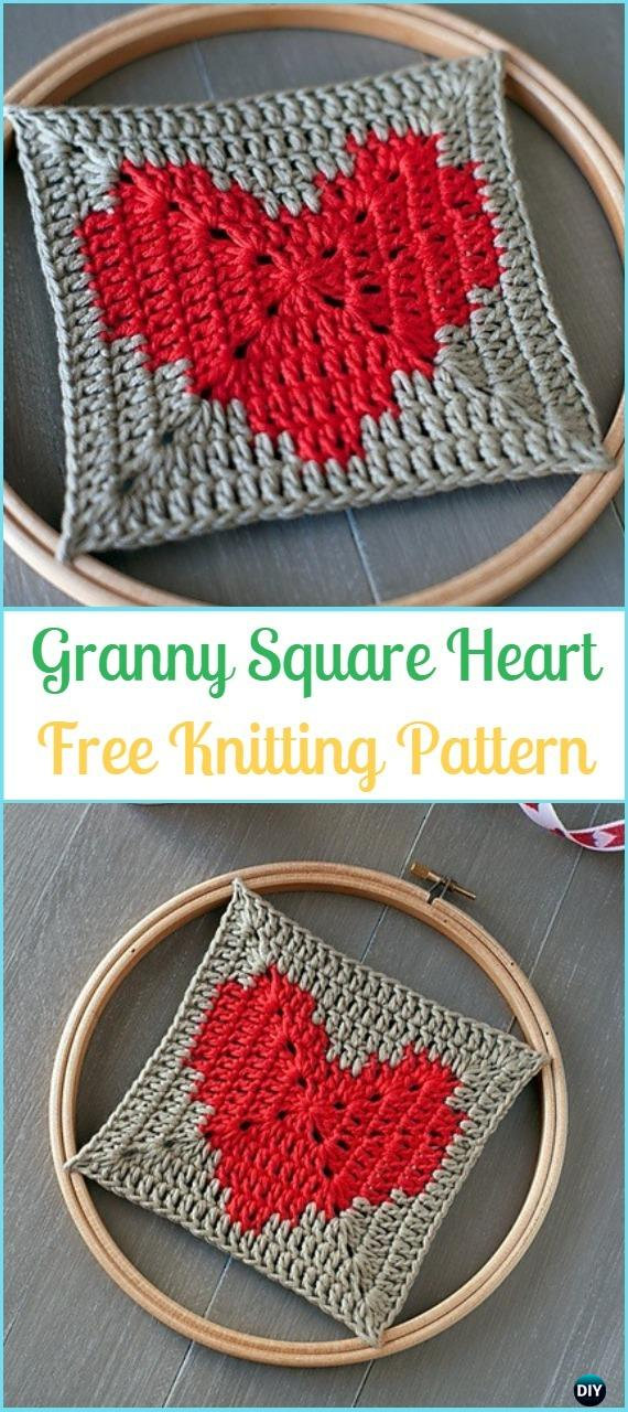 Crochet Heart Granny Square Free Patterns & Tutorials