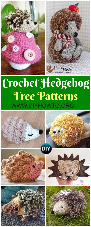 Collection of Crochet Hedgehog Amigurumi Toy Softies Free Patterns Autumn woodland Pine cone hedgehog, loopy hedgehog, ragdoll hedgehog, bobble, stripy, rainbow hedgehog