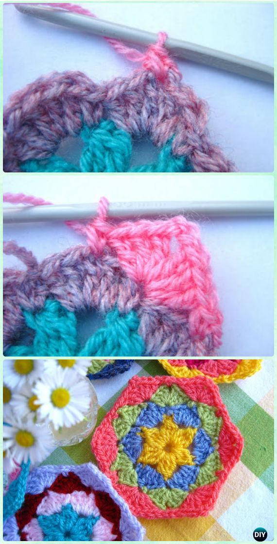 Crochet Flower Hexagon Motif Free Pattern - Crochet Hexagon Motif Free Patterns