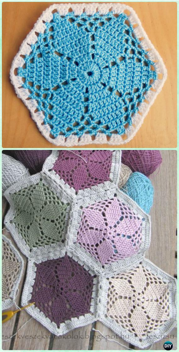 Crochet Granny's Garden Flower Hexagon Motif Free Pattern - Crochet Hexagon Motif Free Patterns