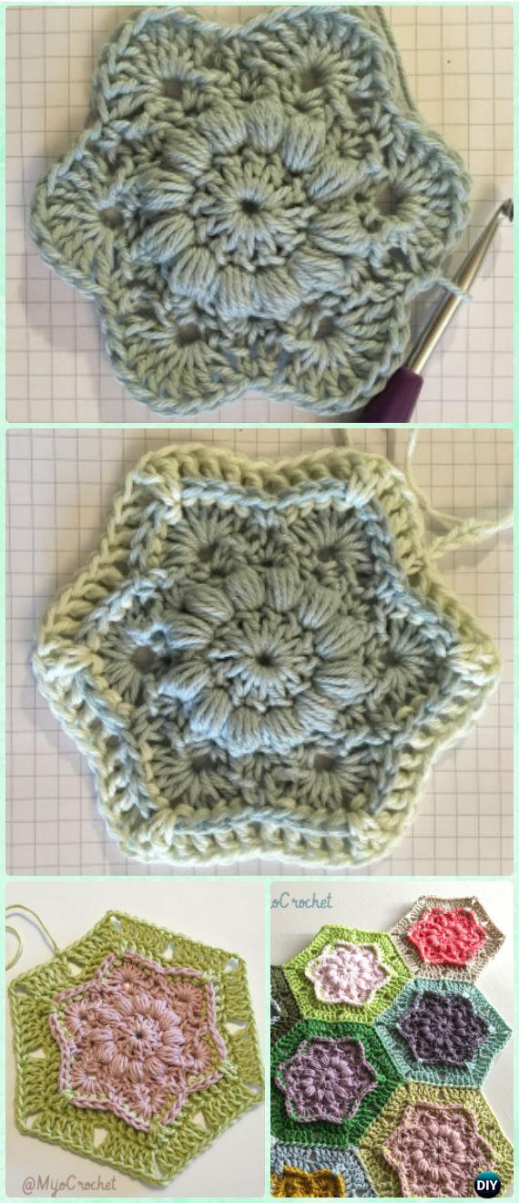 Crochet Wind Flower Hexagon Motif Free Pattern - Crochet Hexagon Motif Free Patterns
