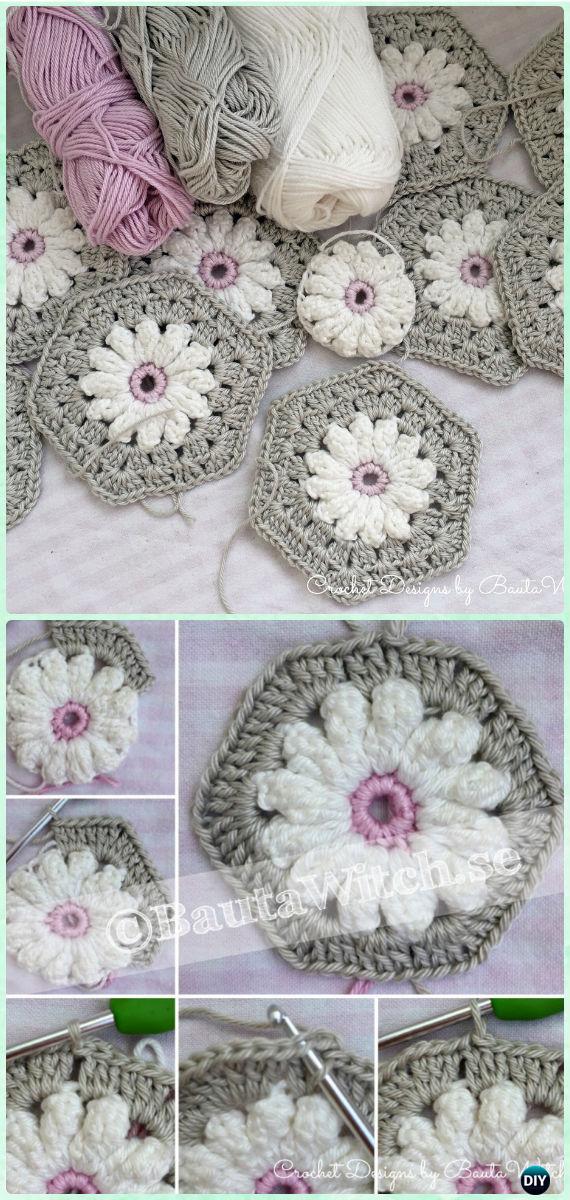 Crochet Daisy Flower Hexagon Motif Free Pattern - Crochet Hexagon Motif Free Patterns