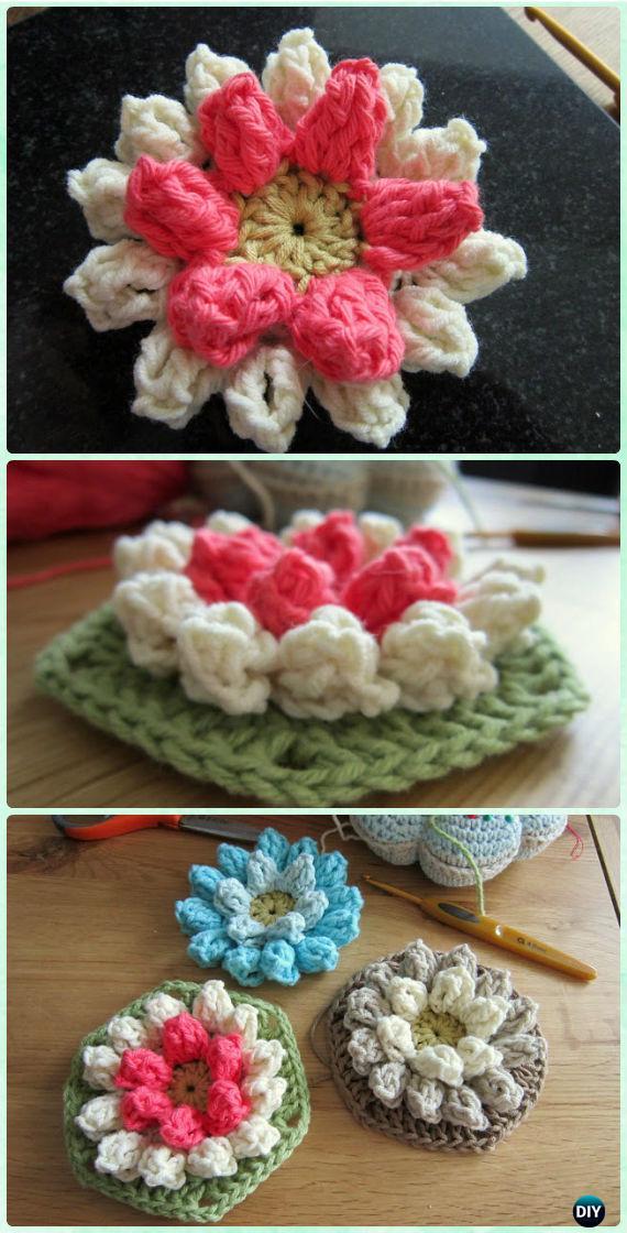 Crochet hexagon motif free patterns instructions crochet lily pad hexagon flower motif free pattern crochet hexagon motif free patterns dt1010fo