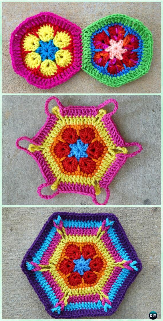 Crochet African Flower Hexagon Motifs Free Pattern Crochet Hexagon