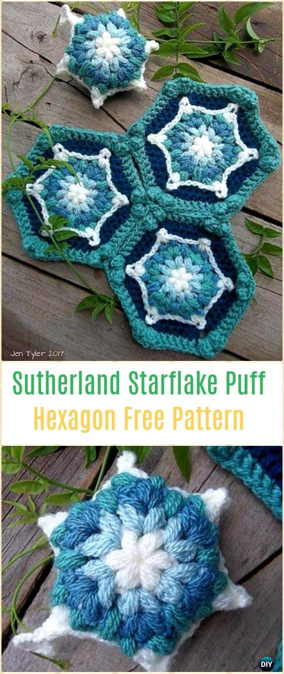 Crochet The Sutherland Starflake PufF Hexagon Free Pattern - Crochet Hexagon Motif Free Patterns