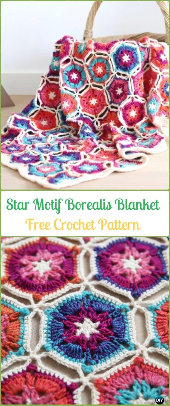Crochet Hexagon Star Motif Borealis Blanket Free Pattern - Crochet Hexagon Motif Free Patterns
