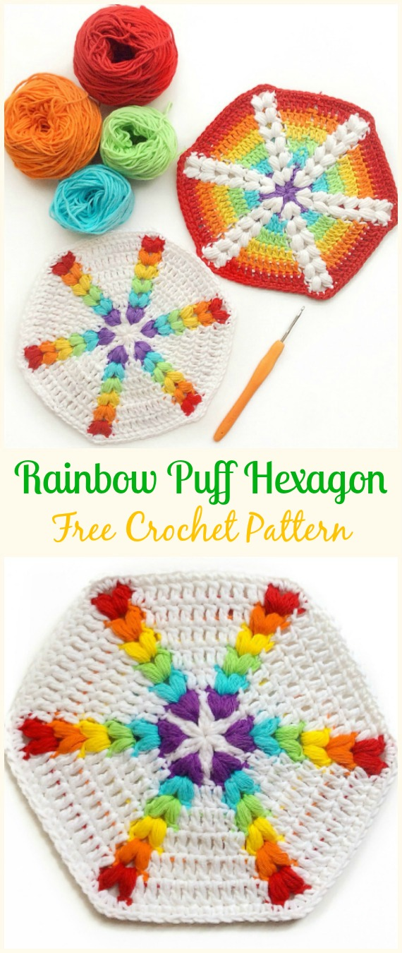 Crochet Rainbow Puff Hexagon Free Pattern - #Crochet #Hexagon Motif Free Patterns