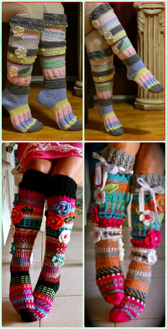 Crochet Knee high Flower Sock Slipper Boots Free Pattern [Video] - Crochet High Knee Crochet Slipper Boots Patterns