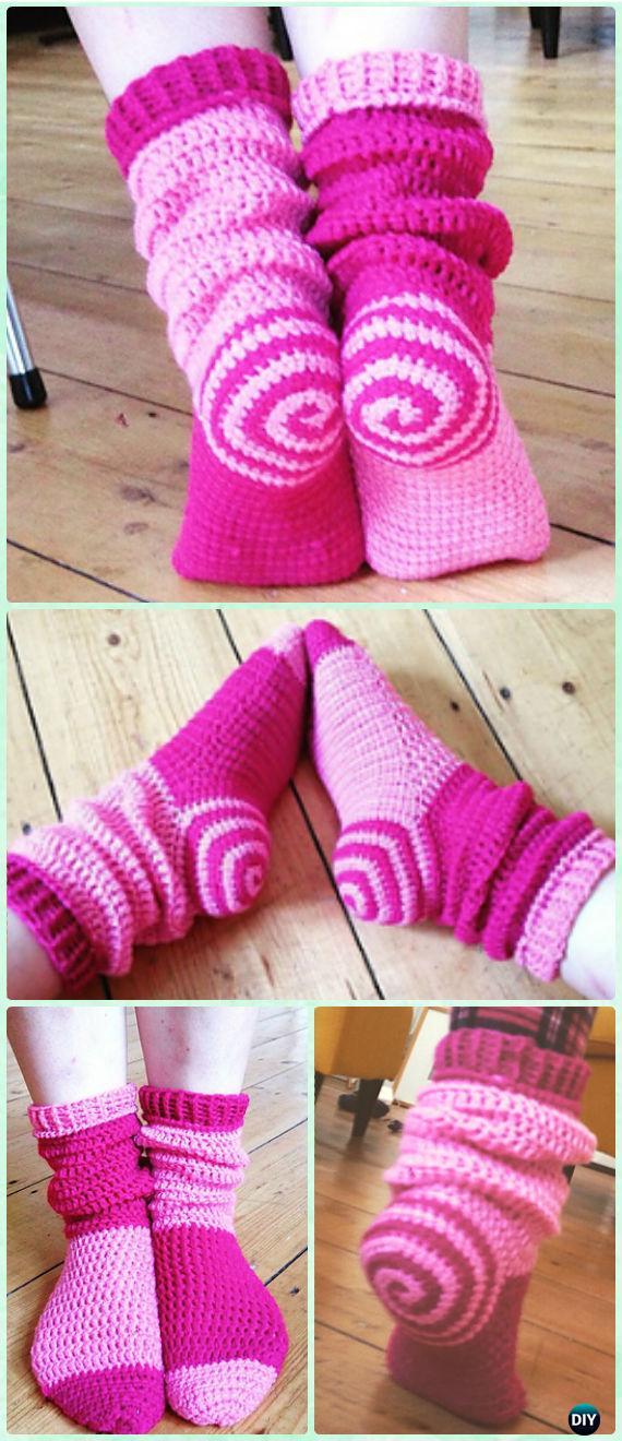 Crochet Spiral Sock Slipper Boots Free Pattern - Crochet High Knee Crochet Slipper Boots Patterns
