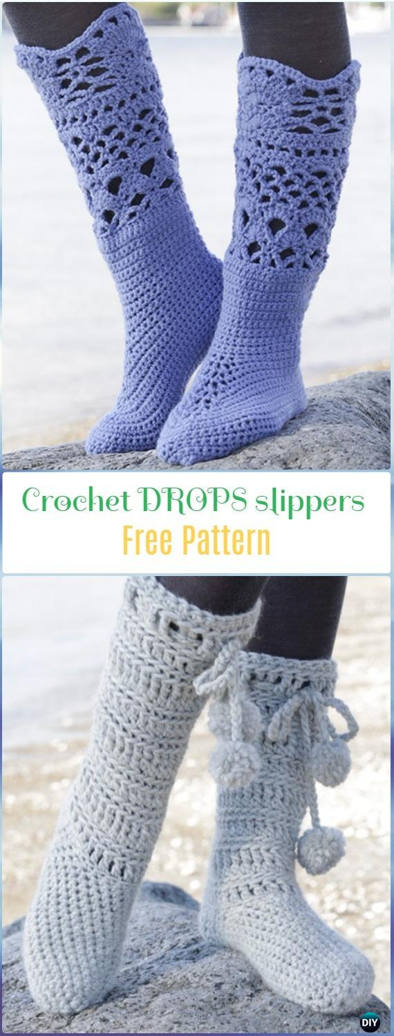 Crochet Drops Slippers Boots Free Pattern- Crochet High Knee Crochet Slipper Boots Patterns