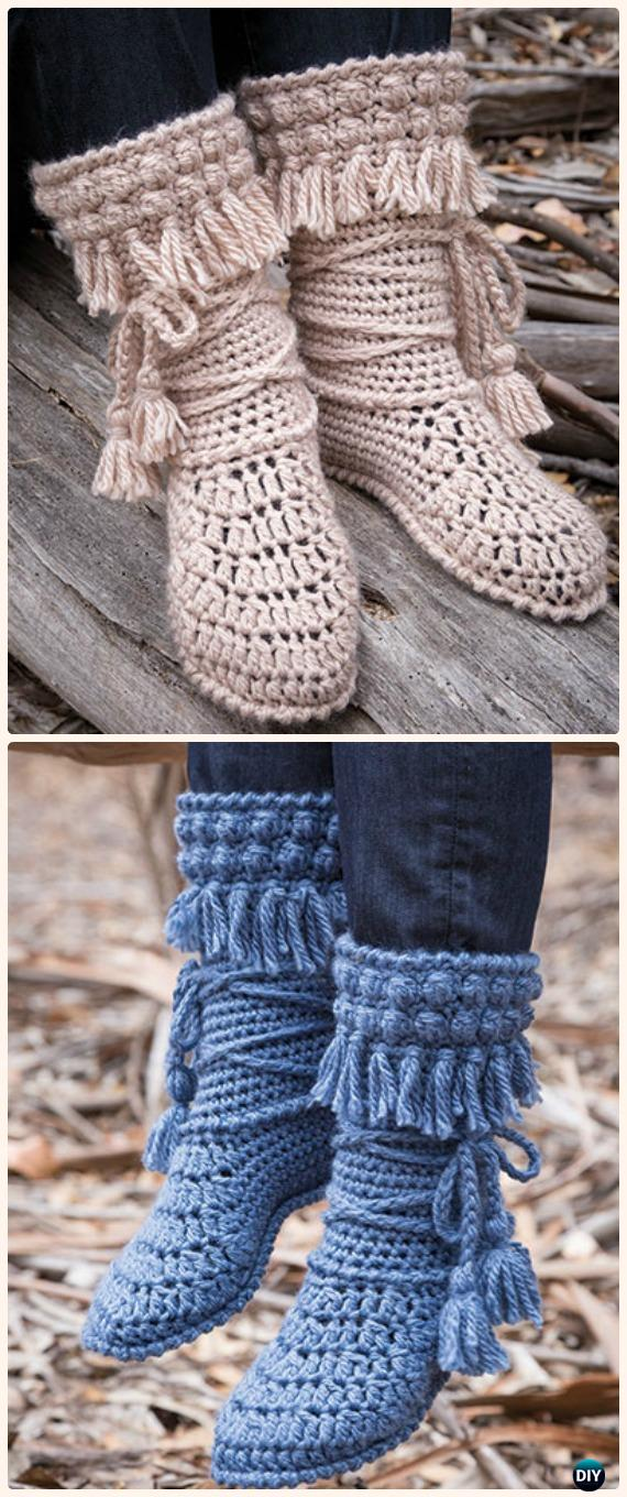 Crochet Mukluk Crochet Booties Paid Pattern- Crochet High Knee Crochet Slipper Boots Patterns