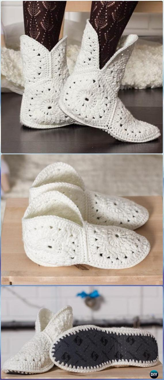 Crochet Hexagon Slippers Free Pattern- Crochet High Knee Crochet ...
