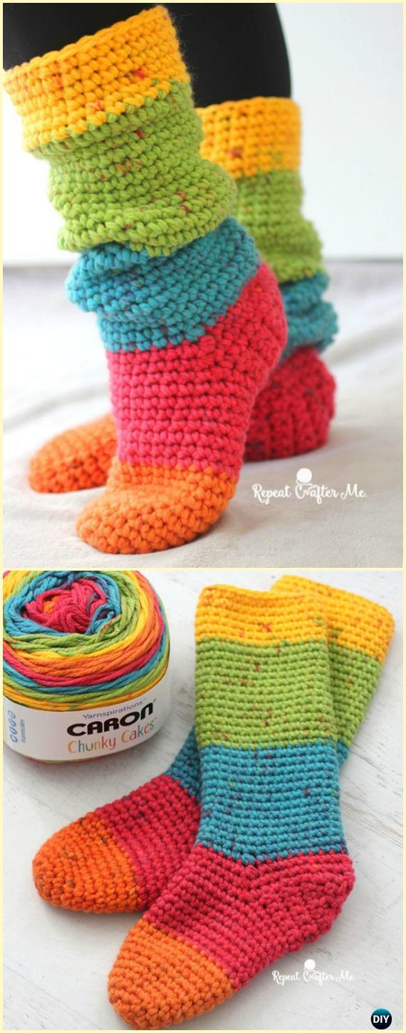 Crochet Caron Cakes Chunky Slouchy Sock Slippers Free Pattern- Crochet High Knee Crochet Slipper Boots Patterns