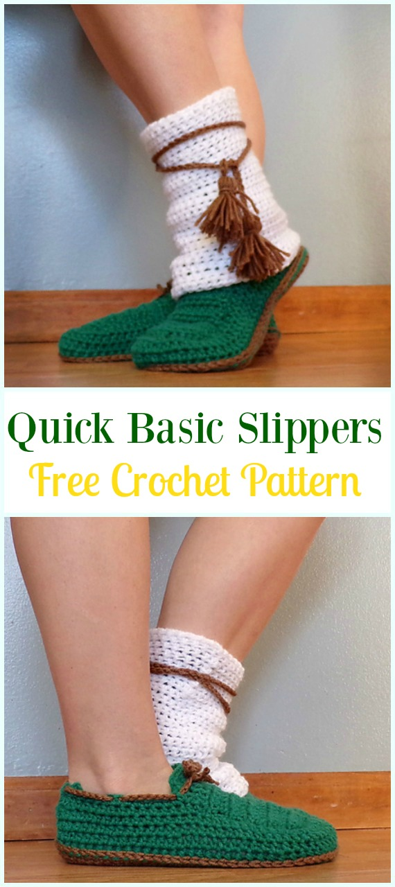 Crochet Quick Basic Slippers Free Pattern- Crochet High Knee Crochet Slipper Boots Patterns