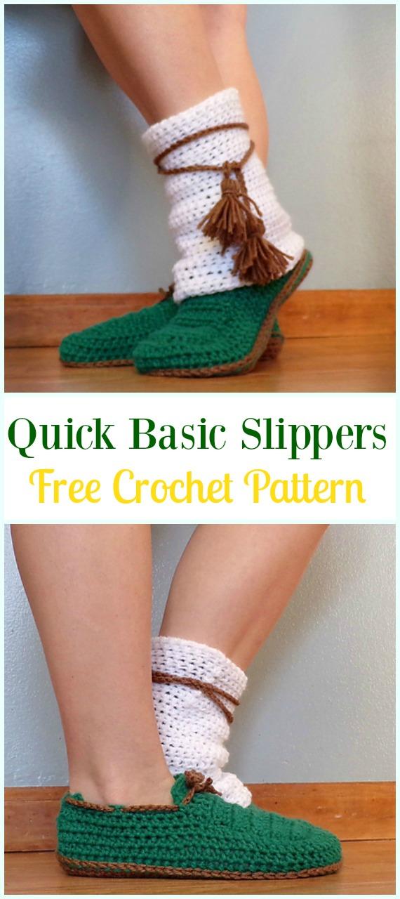 Crochet Quick BasicSlippers FreePattern- Crochet High Knee Crochet Slipper Boots Patterns