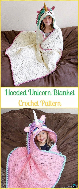 Crochet Hooded Unicorn Blanket Paid Pattern Crochet Hooded Blanket