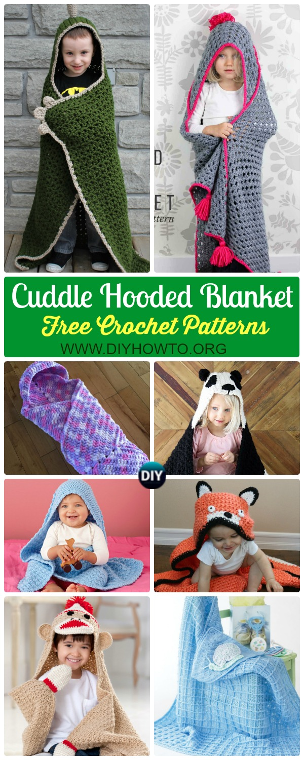 Collection of Crochet Hooded Blanket Free Patterns & Tutorials: Crochet animal hooded blanket, cat, unicorn, dinosaur, panda, fox and easy ones for kids and adults