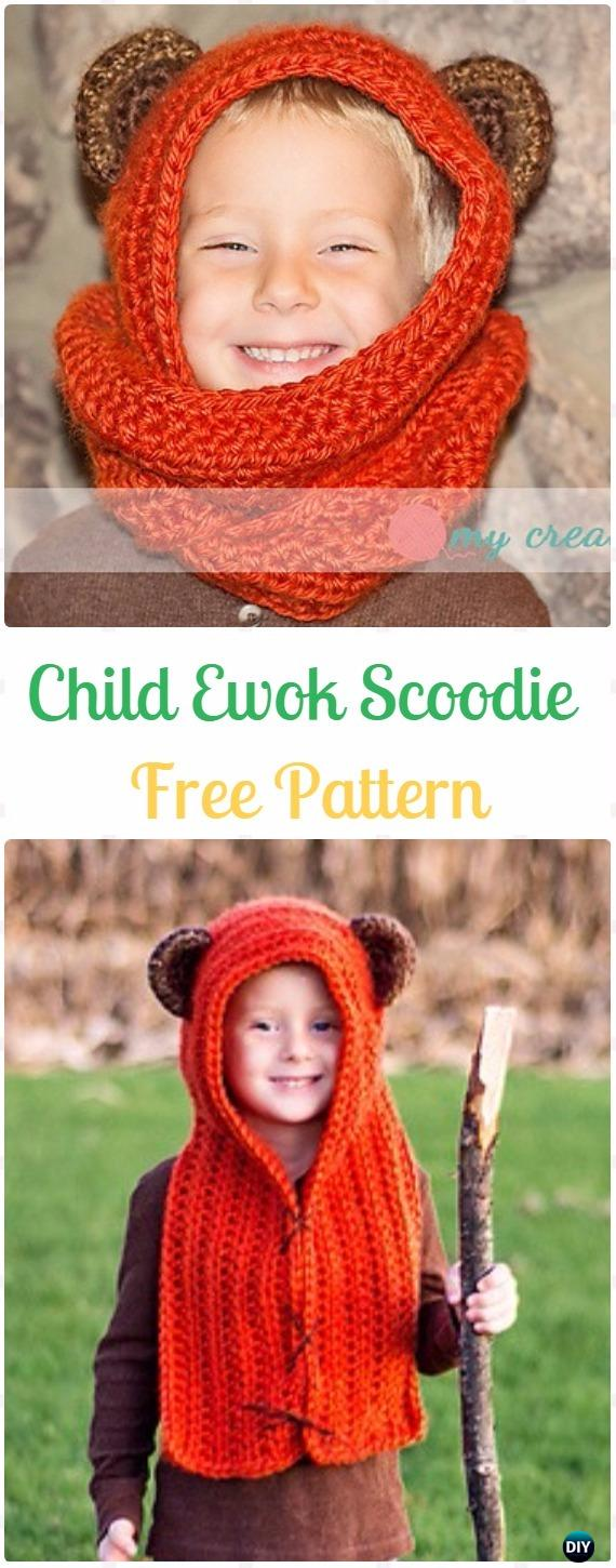 Crochet Child Ewok Scoodie Free Pattern - Crochet Hoodie Scarf Free Patterns