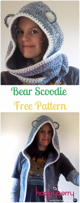 Crochet Bear Scoodie Free Pattern - Crochet Hoodie Scarf Free Patterns