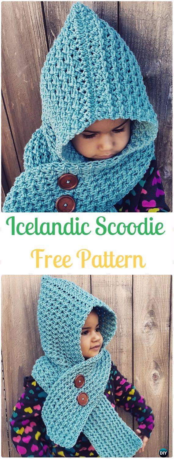 Crochet Icelandic Scoodie Free Pattern - Crochet Hoodie Scarf Free Patterns