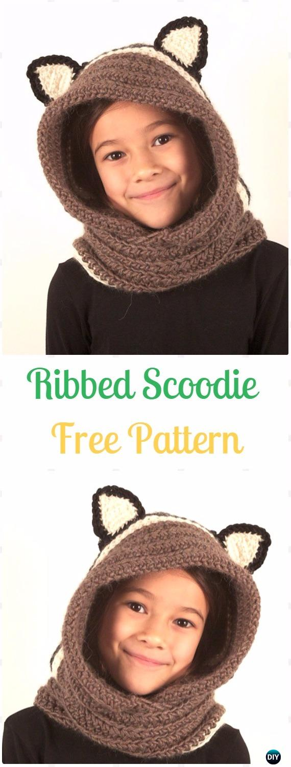 Crochet Ribbed Scoodie Free Pattern - Crochet Hoodie Scarf Free Patterns