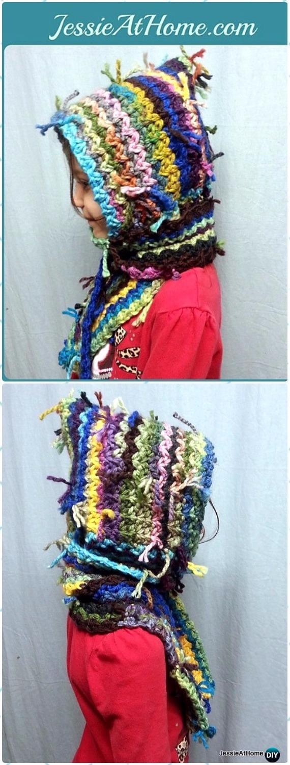 CrochetScrappy Scoodie Free Pattern - Crochet Hoodie Scarf Free Patterns