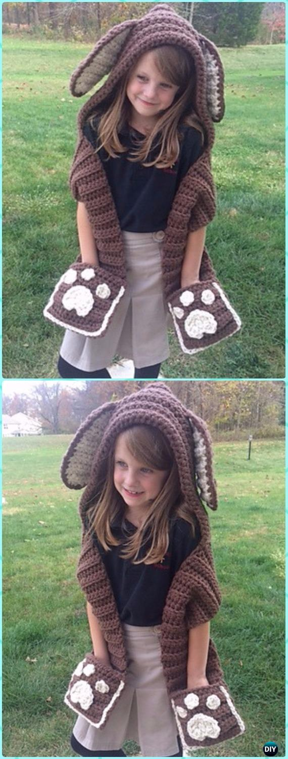 Crochet Puppy Scoodie Paid Pattern - Crochet Hoodie Scarf Patterns