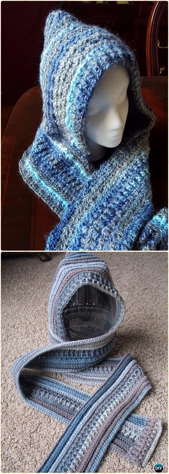 Crochet Ella Hooded ScarfFree Pattern - Crochet Hoodie Scarf Free Patterns