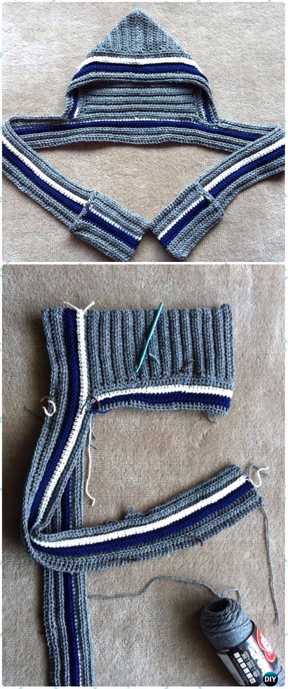 CrochetStretchy Scoodie with Pockets Free Pattern & Video - Crochet Hoodie Scarf Free Patterns